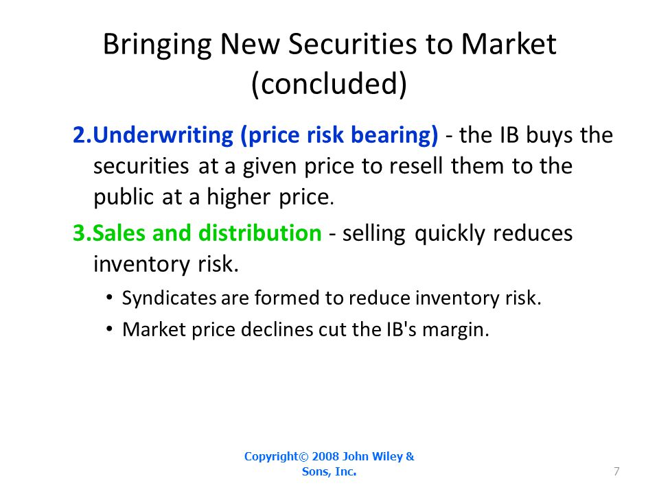 Bringing New Securities to Market (concluded)