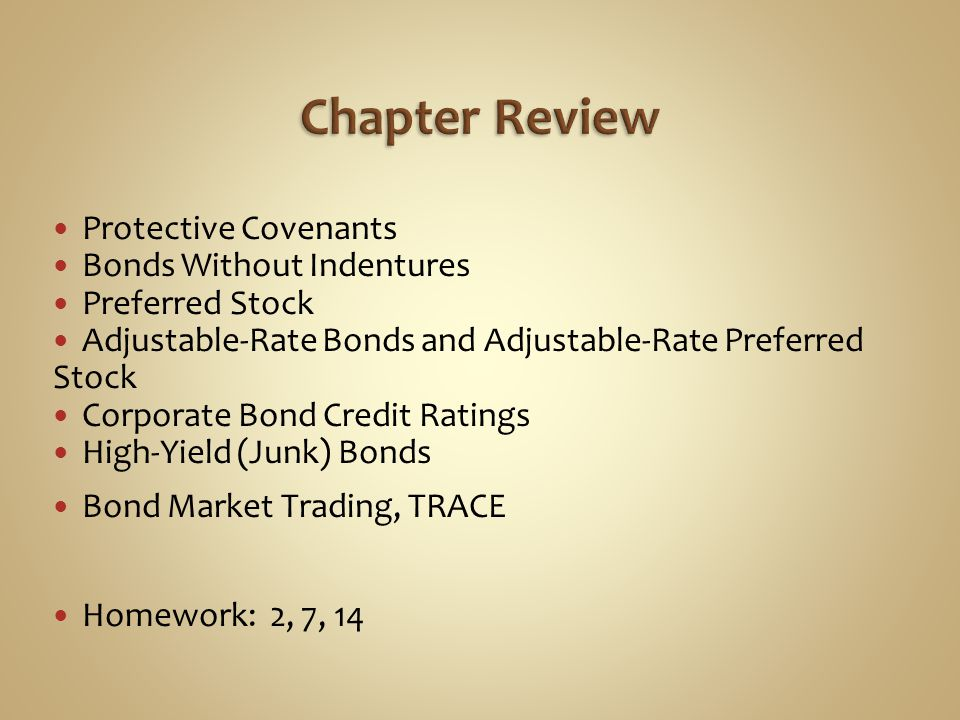 Chapter Review Protective Covenants Bonds Without Indentures