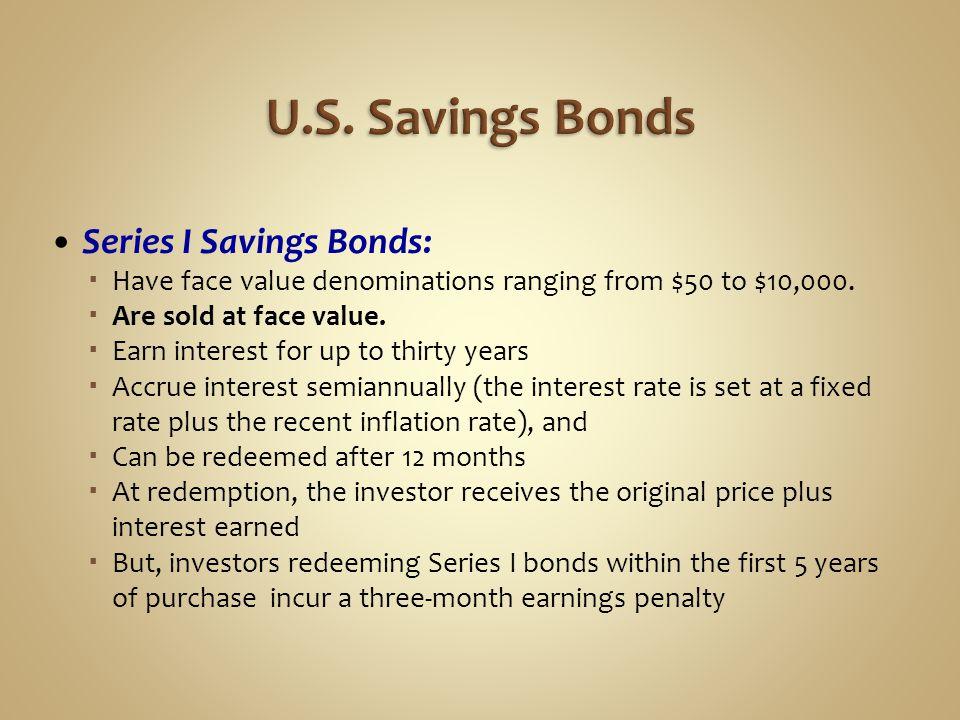 U.S. Savings Bonds Series I Savings Bonds: