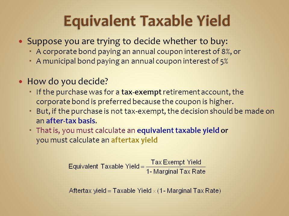 Equivalent Taxable Yield