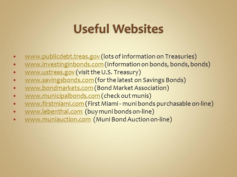 Useful Websites www.publicdebt.treas.gov (lots of information on Treasuries) www.investinginbonds.com (information on bonds, bonds, bonds)