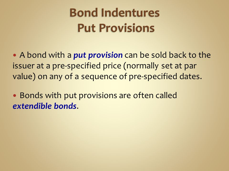 Bond Indentures Put Provisions
