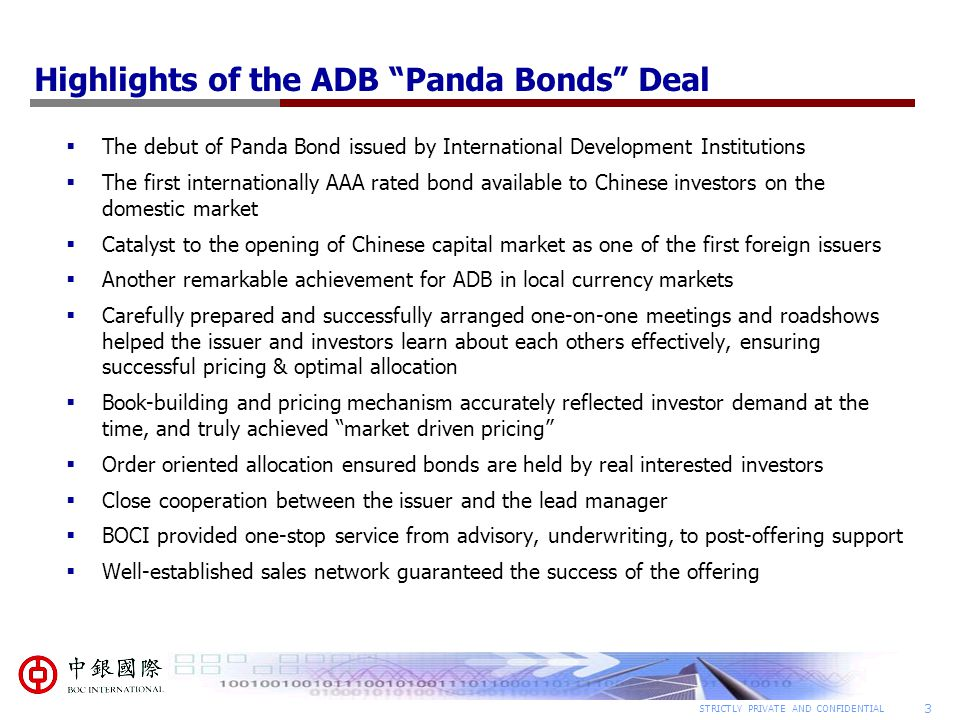 Highlights of the ADB Panda Bonds Deal