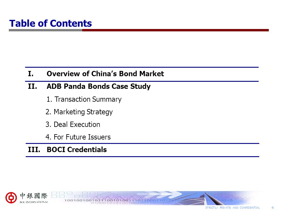 Table of Contents Overview of China's Bond Market