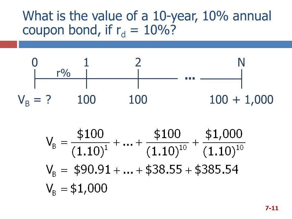 What is the value of a 10-year, 10% annual coupon bond, if rd = 10%