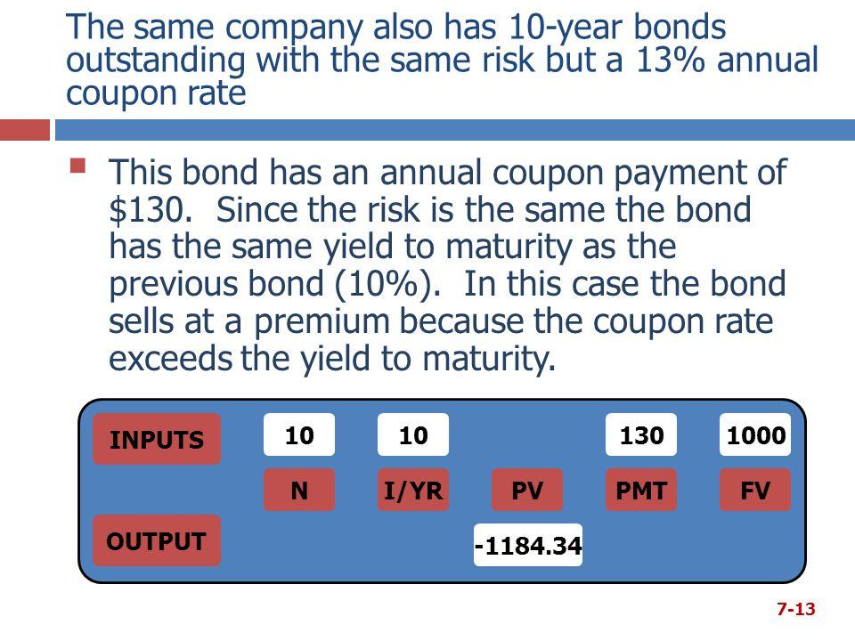 The same company also has 10-year bonds outstanding with the same risk but a 13% annual coupon rate