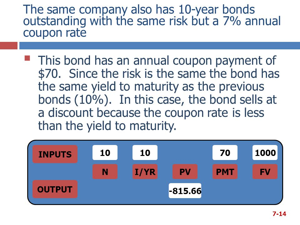 The same company also has 10-year bonds outstanding with the same risk but a 7% annual coupon rate