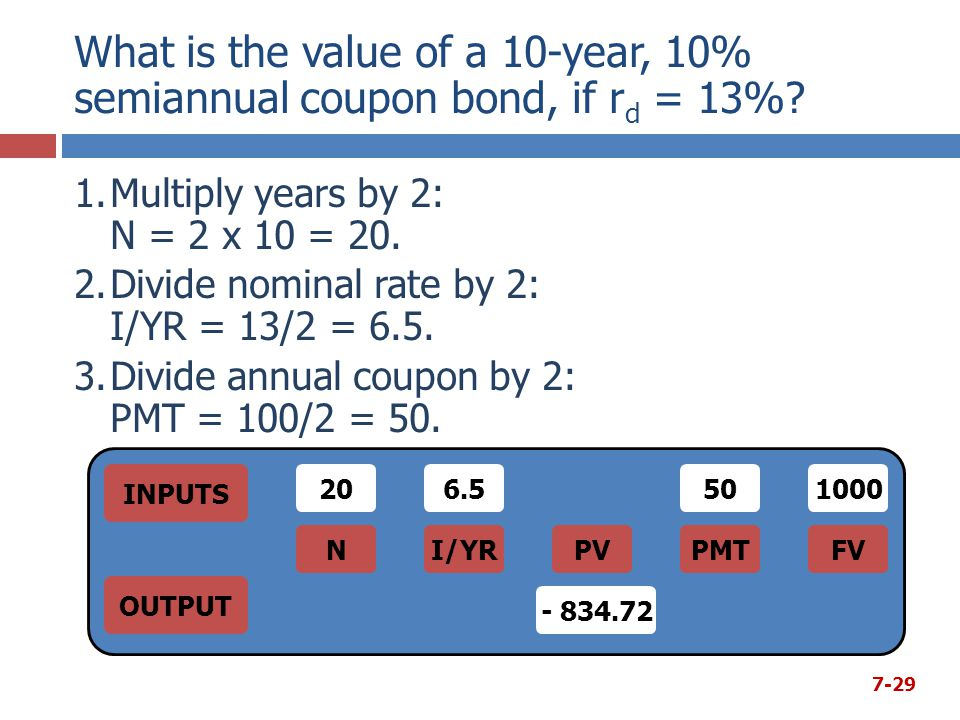 What is the value of a 10-year, 10% semiannual coupon bond, if rd = 13%