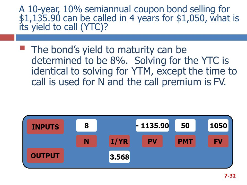 A 10-year, 10% semiannual coupon bond selling for $1,135