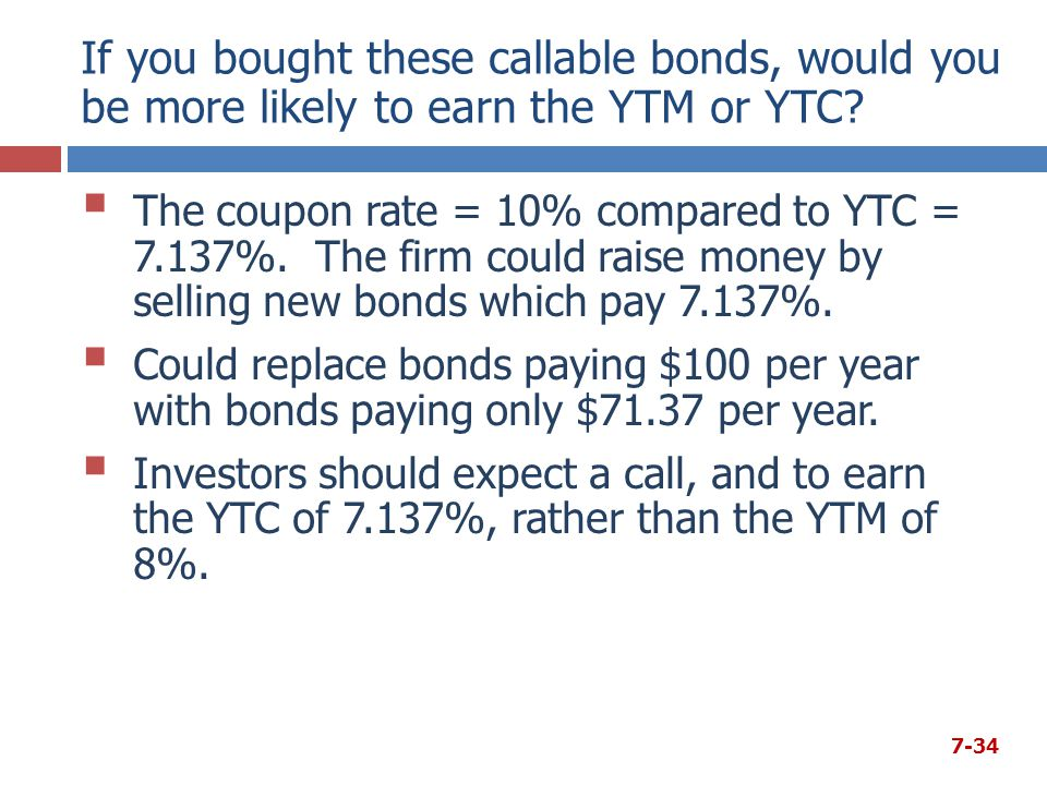 If you bought these callable bonds, would you be more likely to earn the YTM or YTC