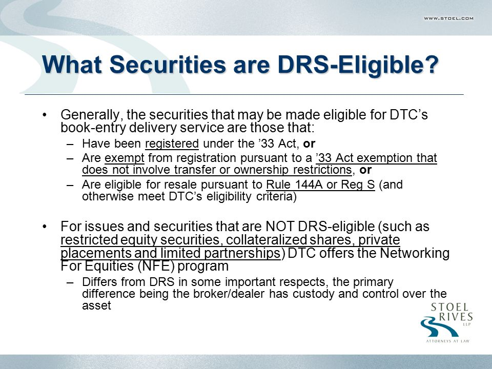 What Securities are DRS-Eligible