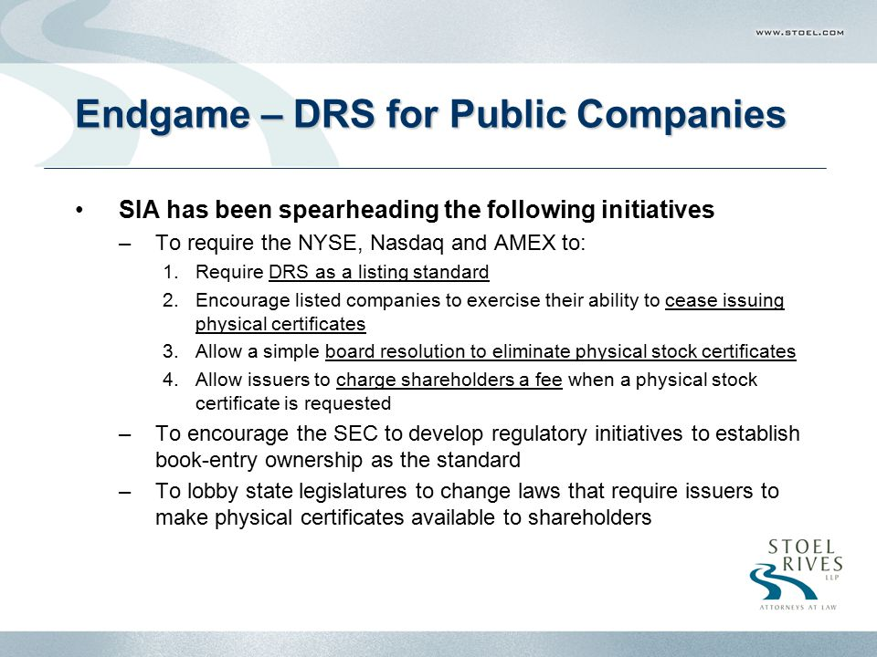 Endgame – DRS for Public Companies