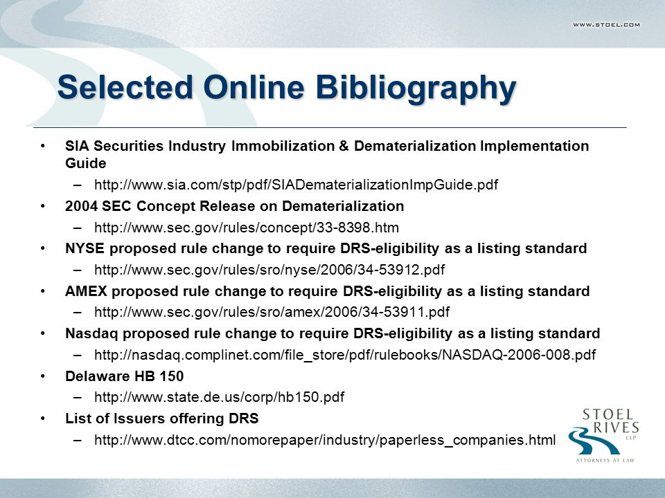 Selected Online Bibliography