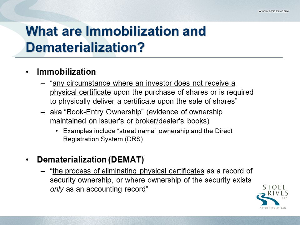 What are Immobilization and Dematerialization