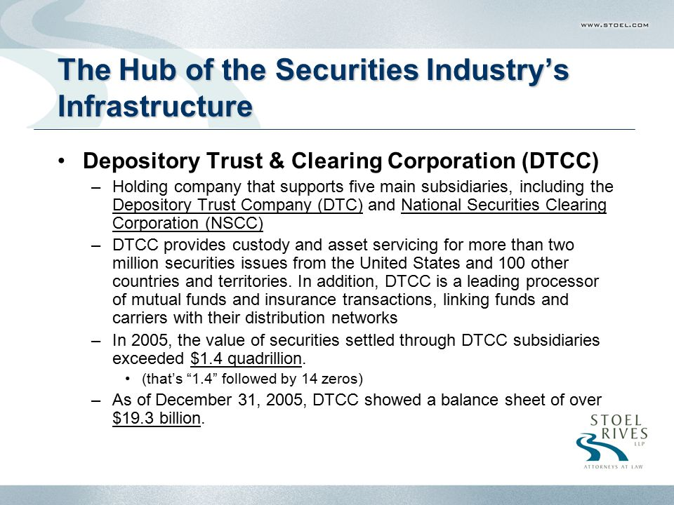 The Hub of the Securities Industry's Infrastructure