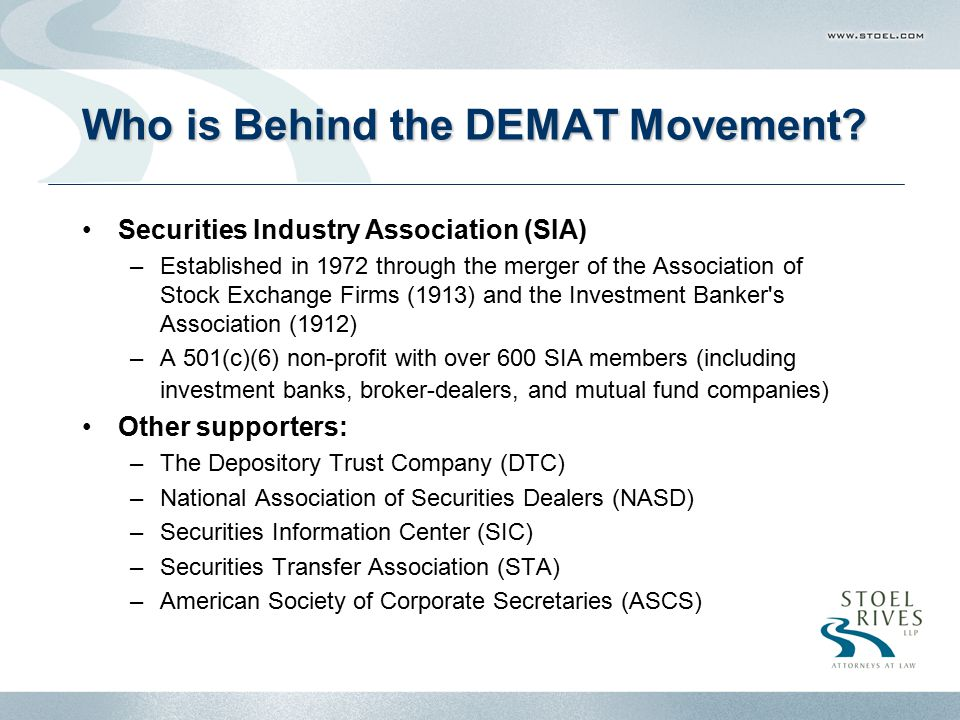Who is Behind the DEMAT Movement