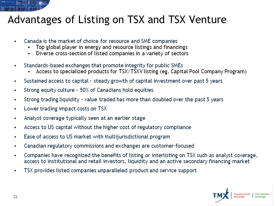 Advantages of Listing on TSX and TSX Venture