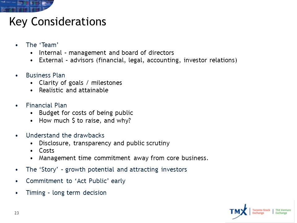 Key Considerations The 'Team'