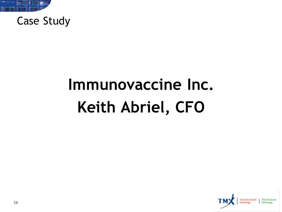Immunovaccine Inc. Keith Abriel, CFO