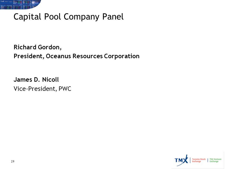 Capital Pool Company Panel