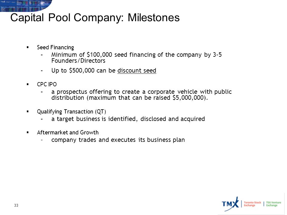 Capital Pool Company: Milestones