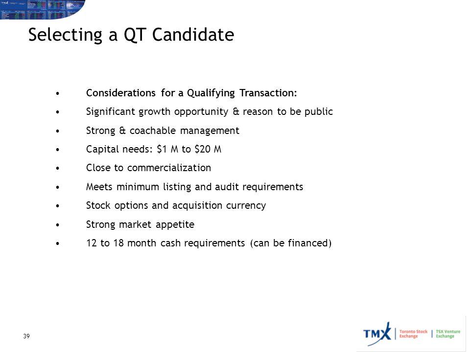 Selecting a QT Candidate