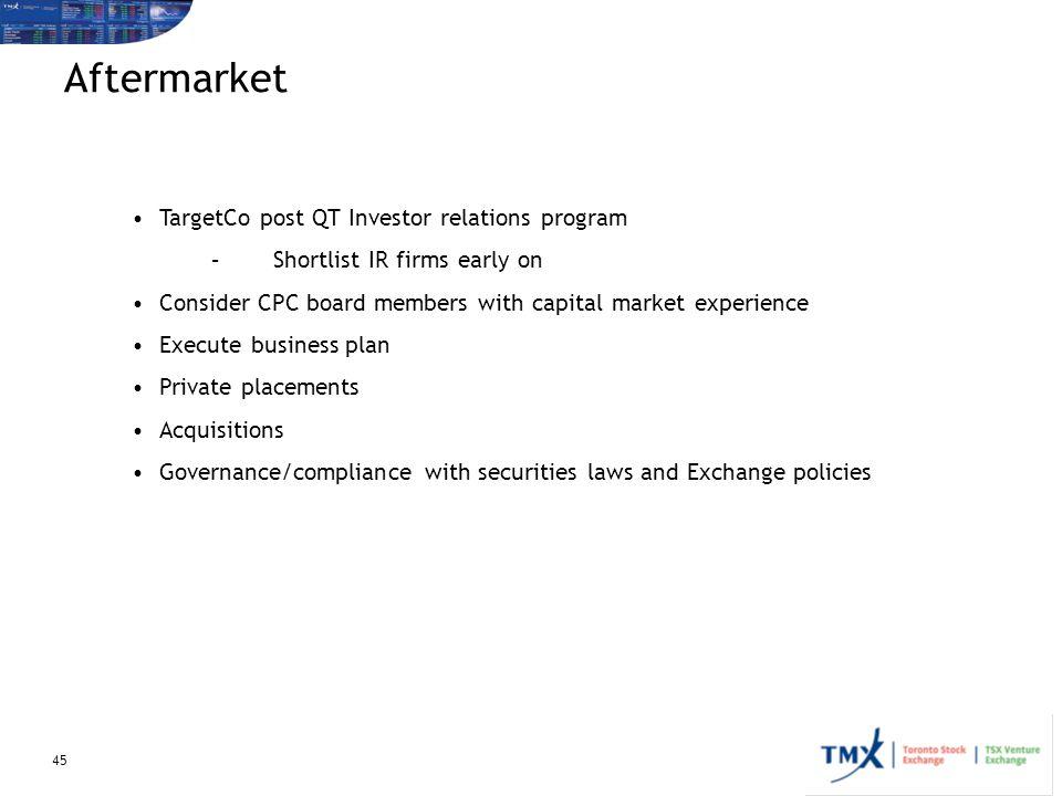 Aftermarket TargetCo post QT Investor relations program