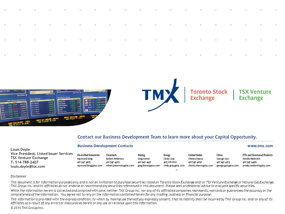 Vice President, Listed Issuer Services TSX Venture Exchange