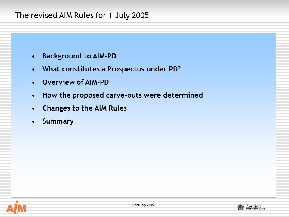 The revised AIM Rules for 1 July 2005