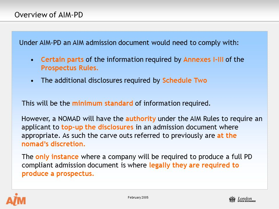 Overview of AIM-PD Under AIM-PD an AIM admission document would need to comply with: