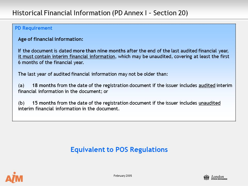 Historical Financial Information (PD Annex I – Section 20)