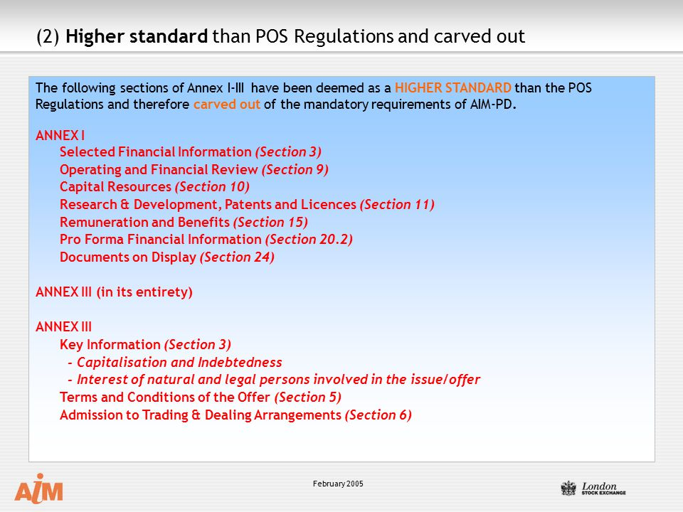 (2) Higher standard than POS Regulations and carved out