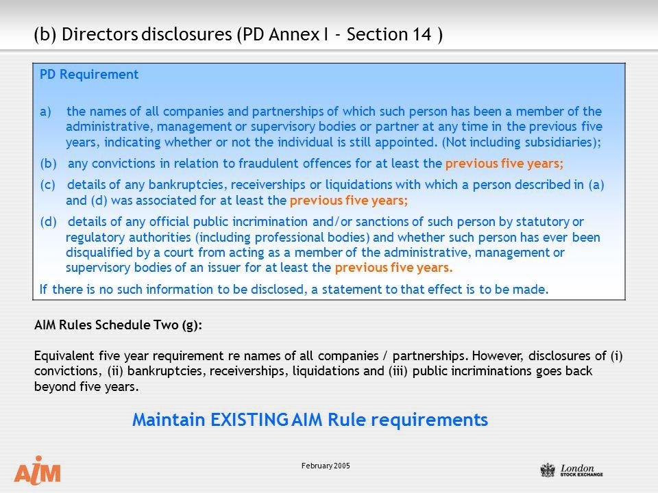 (b) Directors disclosures (PD Annex I - Section 14 )