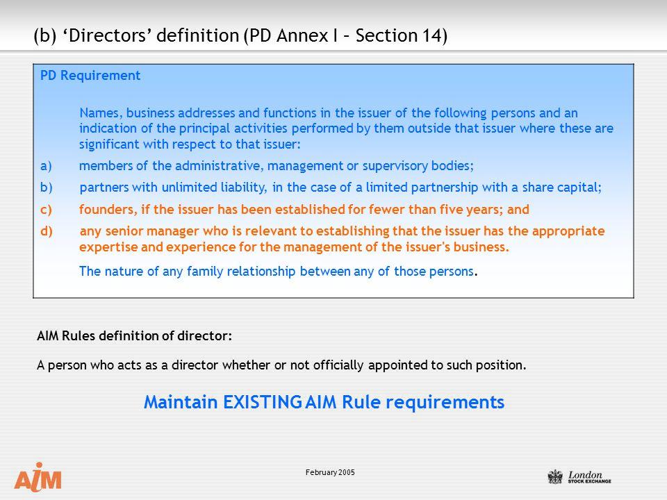 (b) 'Directors' definition (PD Annex I – Section 14)