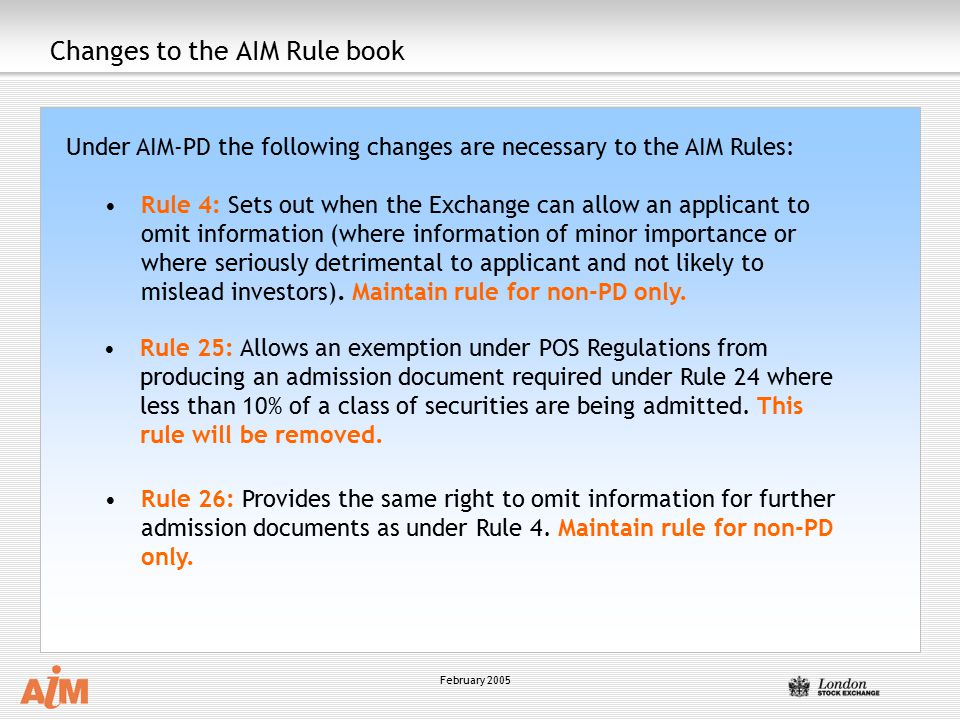 Changes to the AIM Rule book