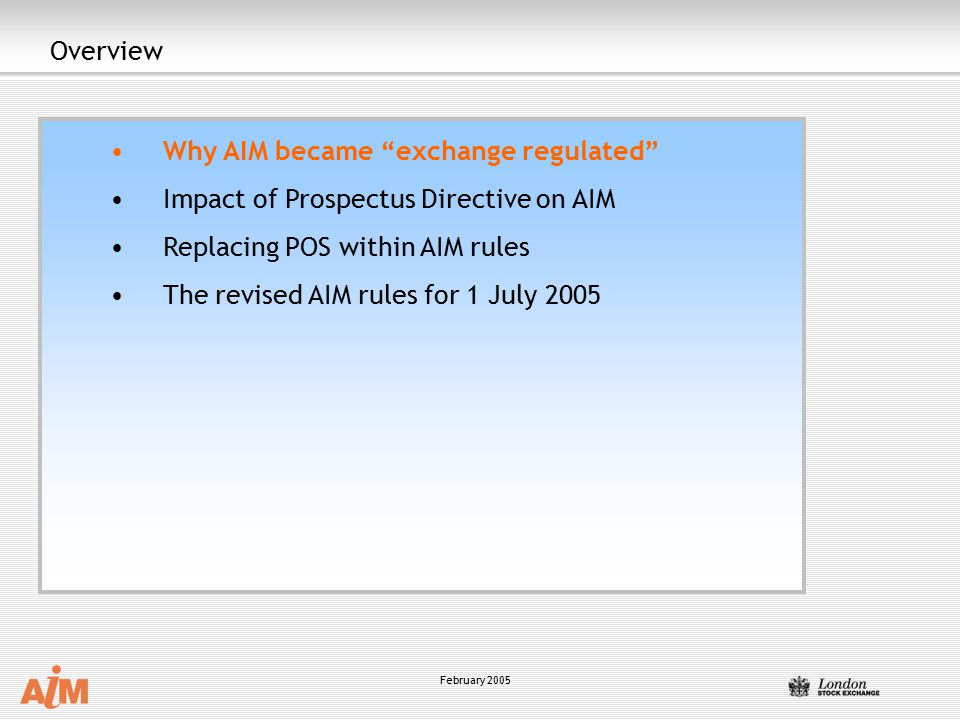 Why AIM became exchange regulated