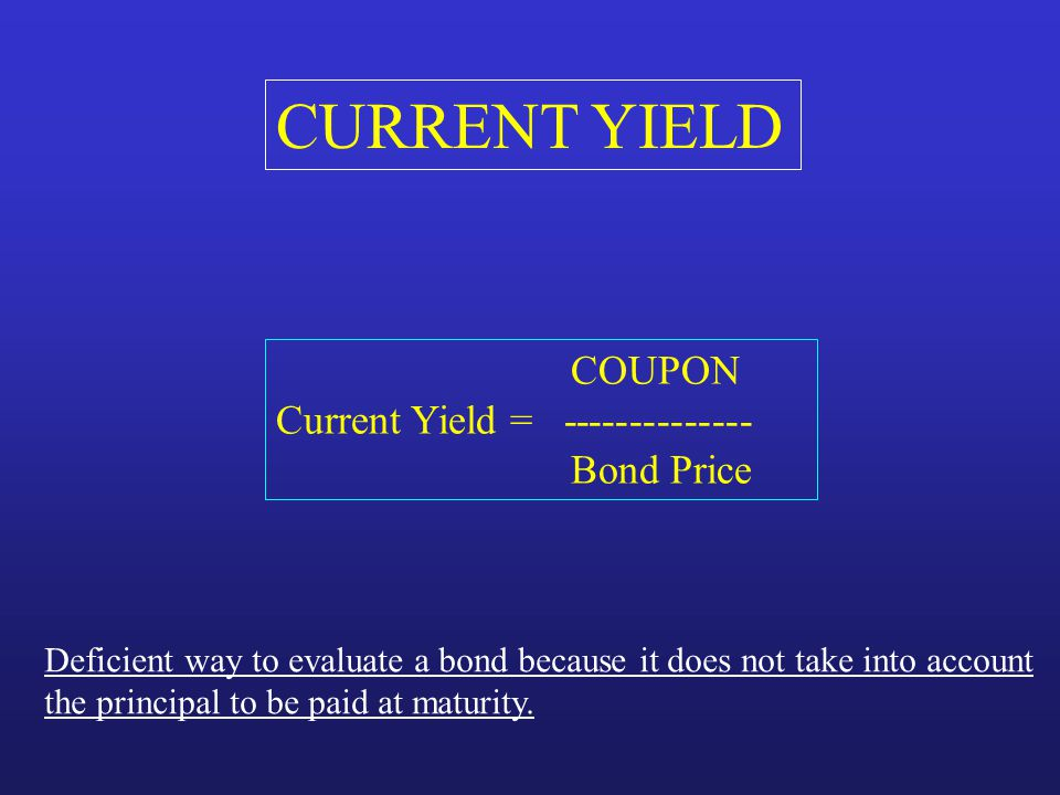 CURRENT YIELD COUPON Current Yield = -------------- Bond Price