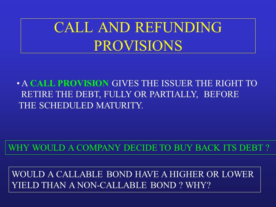 CALL AND REFUNDING PROVISIONS