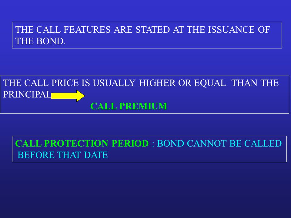 THE CALL FEATURES ARE STATED AT THE ISSUANCE OF