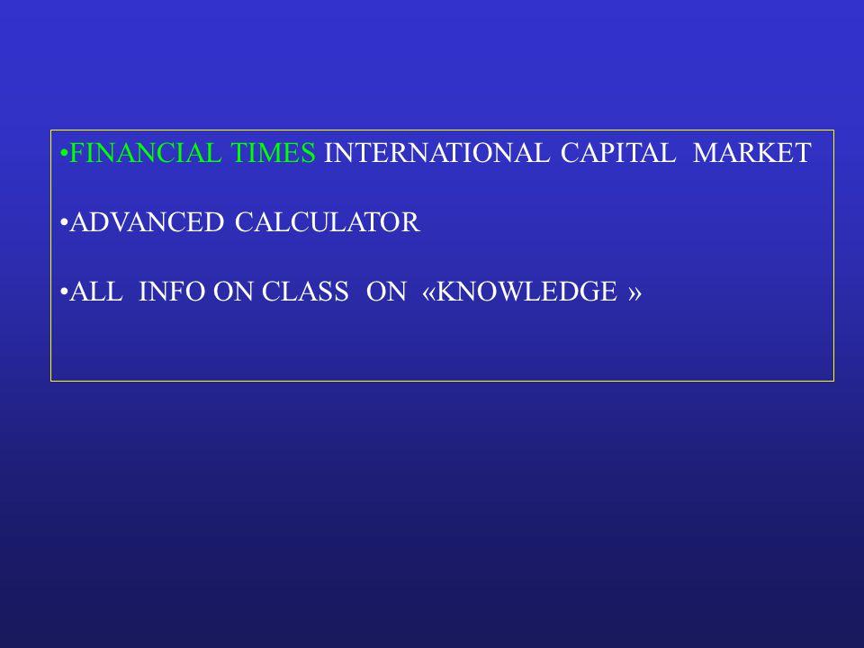 FINANCIAL TIMES INTERNATIONAL CAPITAL MARKET