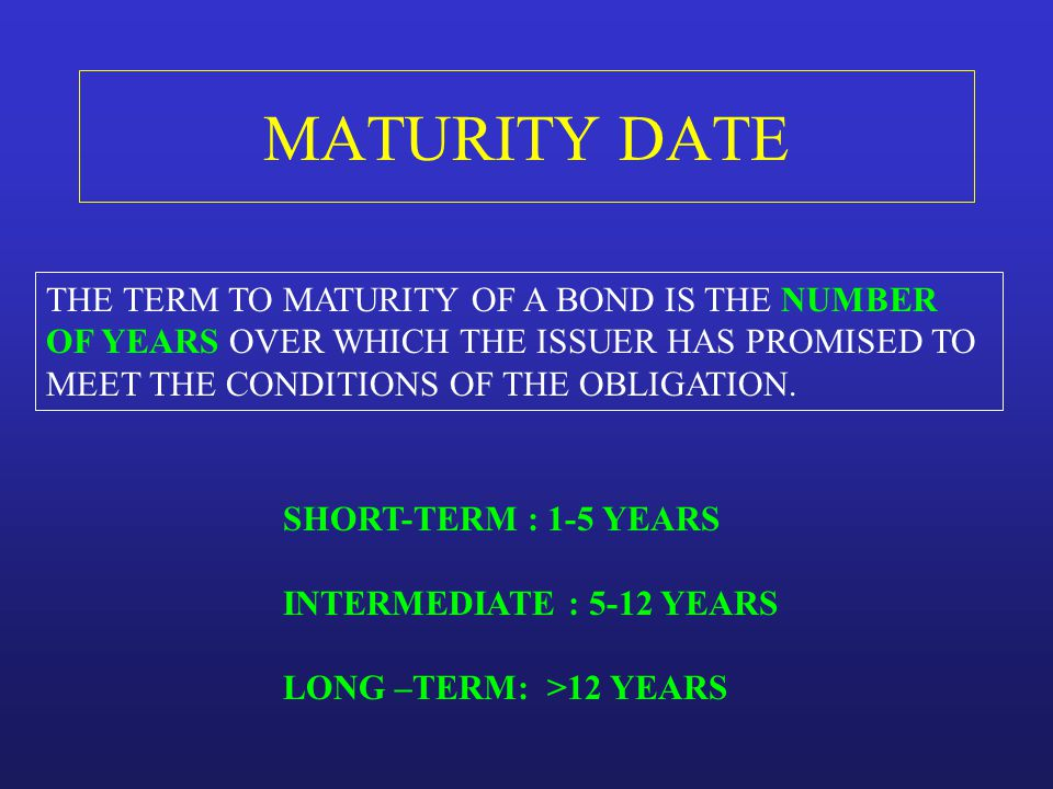 MATURITY DATE THE TERM TO MATURITY OF A BOND IS THE NUMBER
