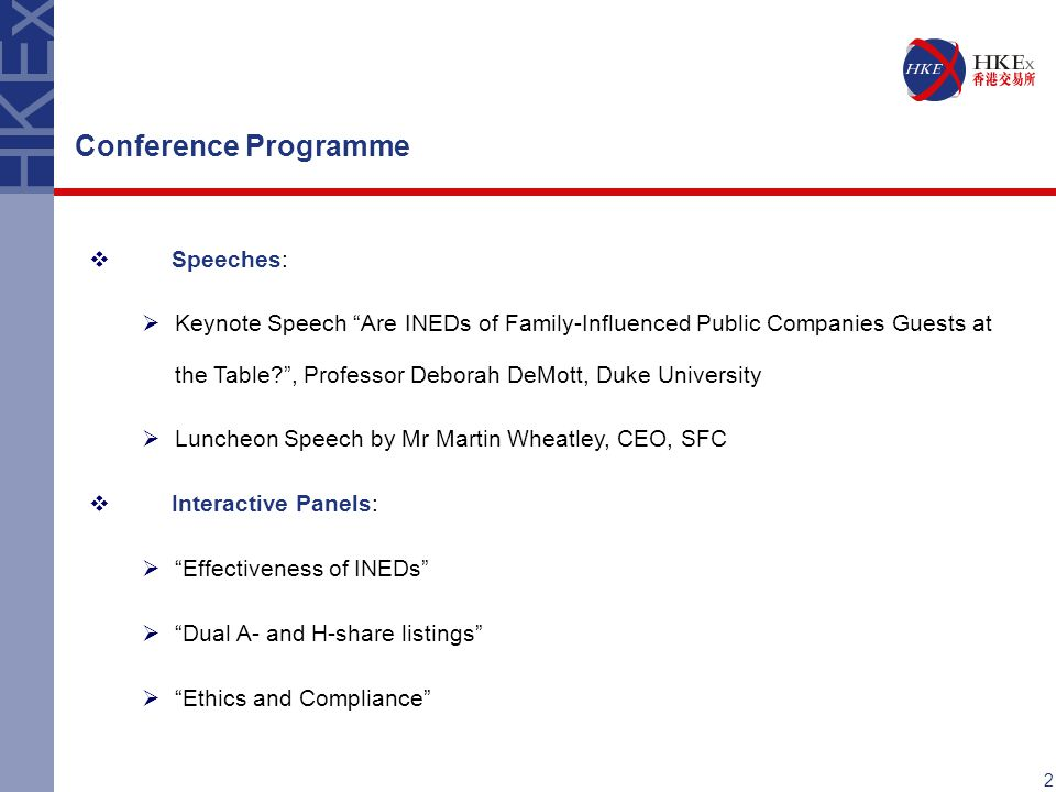 Conference Programme Speeches: