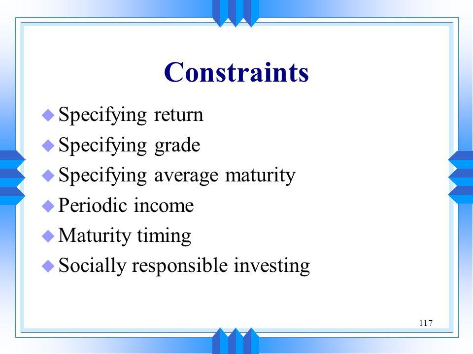 Constraints Specifying return Specifying grade