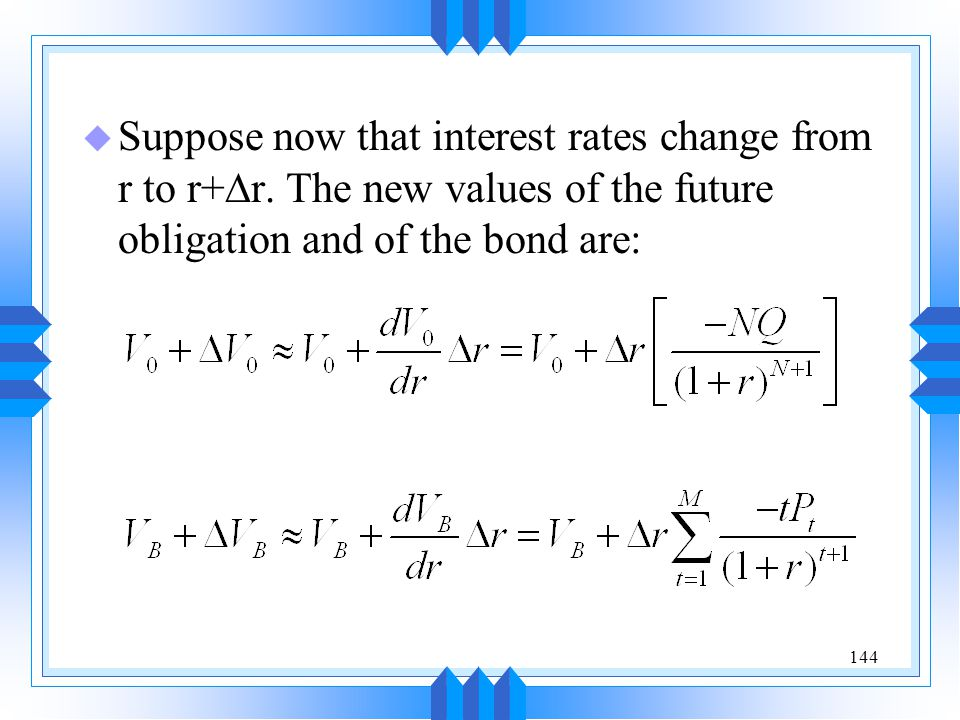 Suppose now that interest rates change from r to r+Dr