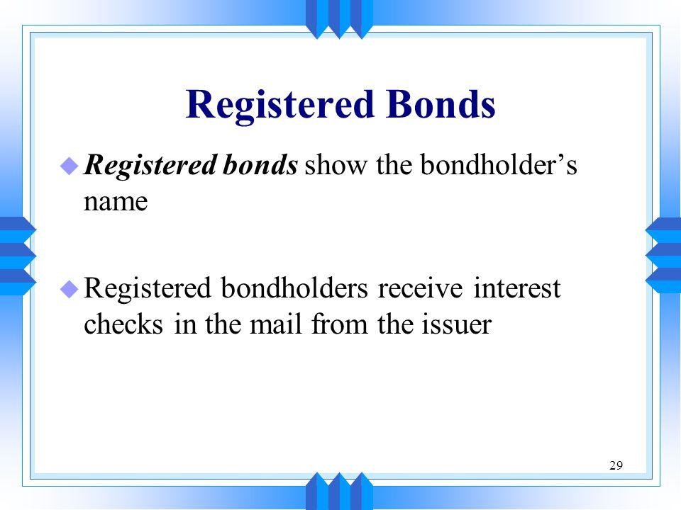 Registered Bonds Registered bonds show the bondholder's name