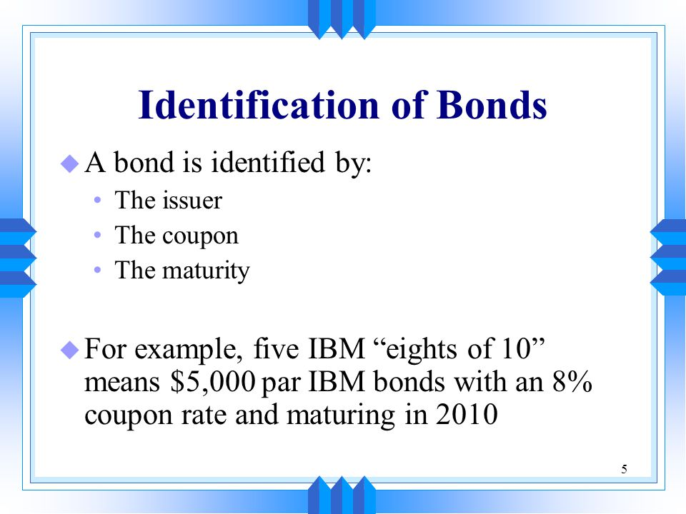 Identification of Bonds