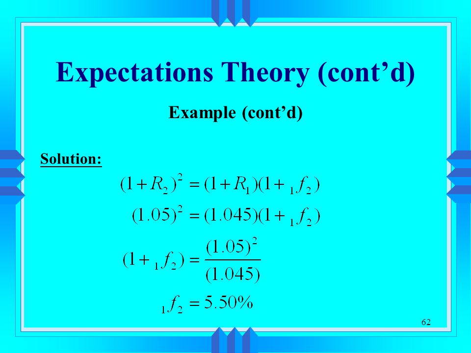 Expectations Theory (cont'd)