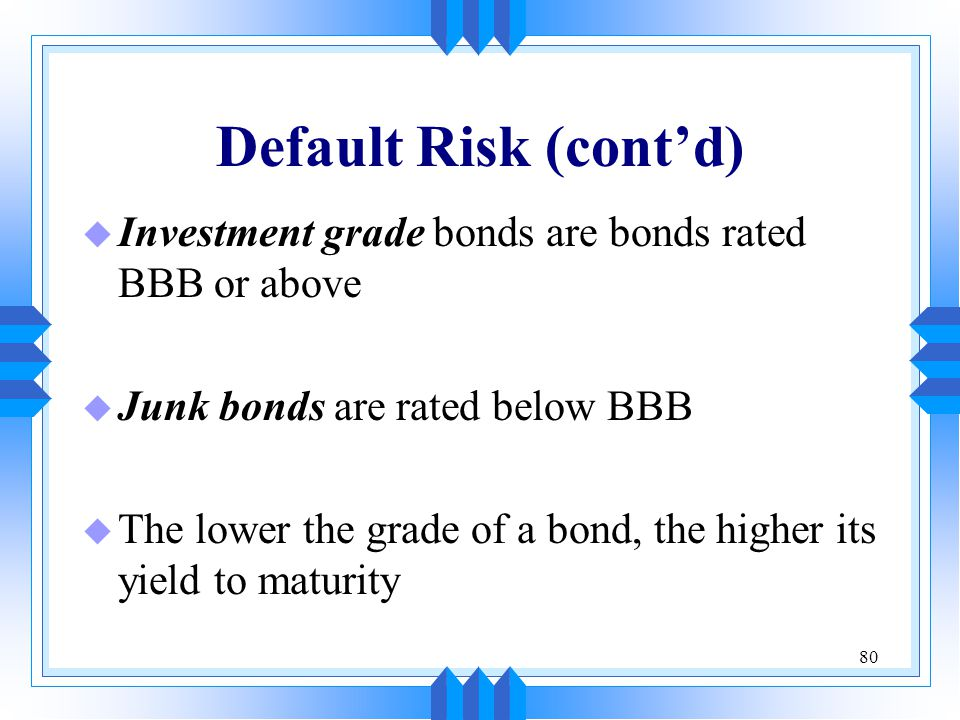 Default Risk (cont'd) Investment grade bonds are bonds rated BBB or above. Junk bonds are rated below BBB.