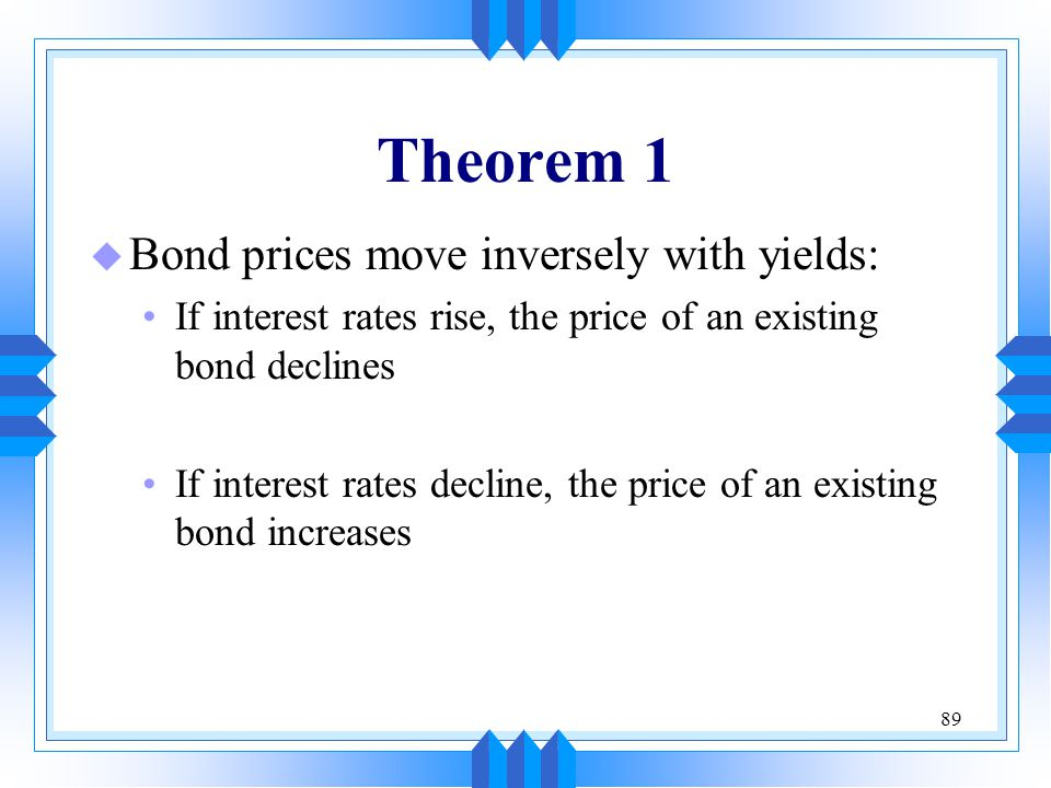 Theorem 1 Bond prices move inversely with yields: