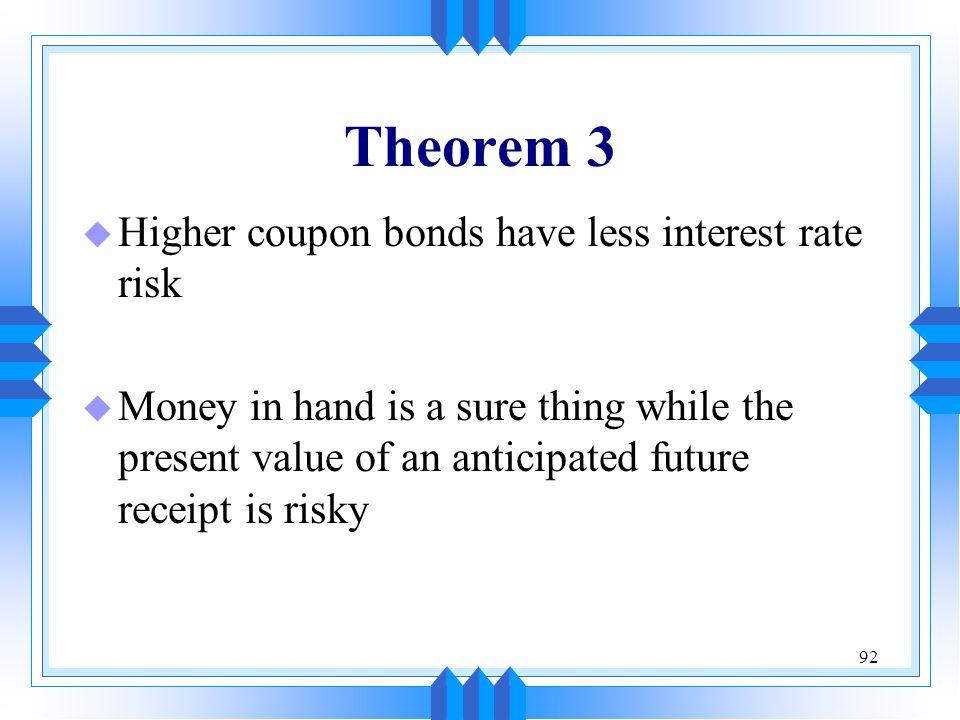 Theorem 3 Higher coupon bonds have less interest rate risk